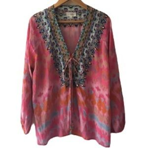 Camilla Printed Silk Hand-Beaded Lace-Up Blouse